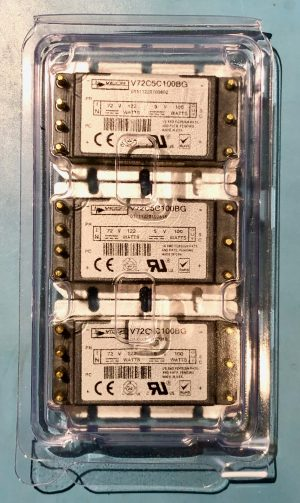 Photo of QTY 3 VICOR modules in factory packaging